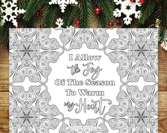 Winter Snowflake Decorations, Printables Affirmation, Christmas Icons, Snowflake Coloring, Quote Coloring Page, Winter Indoor Activity