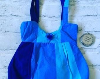 turquoise bag, turquoise handbag, blue bag, turquoise shoulder bag, striped bag, striped shoulder bag, blue shoulder bag, striped fabric