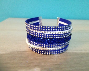White and Royal Blue Cuff Bracelet with Rhinestones.