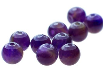 10 high-quality gemstones pearl amethyst between beads, 6 mm, naturally purple