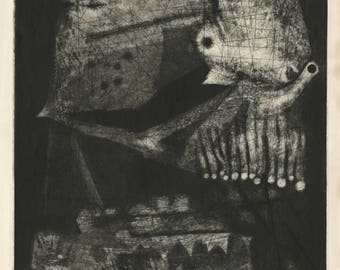 """TSUNEO TAMAGAMI (Japanese, b. 1923), """"Demon"""", 1964, etching, pencil signed and dated."""