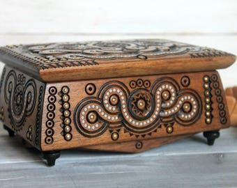 Wooden Jewerly Box, Wooden Carved Box, Jewerly Storage, Handmade box, wood box,  Box for Jewerly, carved wooden box