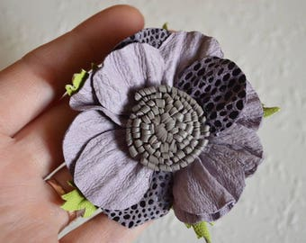 Gray purple flower leather jewelry nature jewelry birthday gift for her gift for wife Hair jewelry summer jewelry hair accessories boho gift