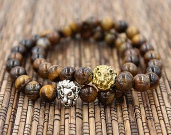 Tiger Eye Lion Stack - Bead Bracelet