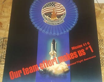 Rare vintage 1984 NASA Space Shuttle Challenger Print Poster mission 41-G
