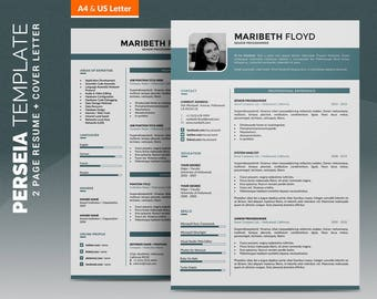 Professional Resume Template /Creative CV Template, 2 Pages Word Resume Design + 1 Pages Cover Letter, Creative Design, Instant Download