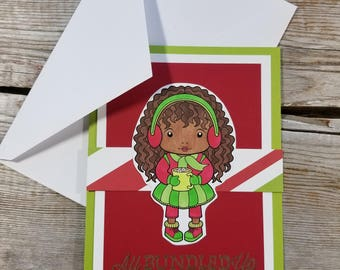 African American Christmas Cards - African American Cards - Cute Christmas Card - African American Greeting Cards - Christmas Card Bright