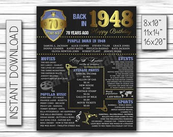 70th Birthday Decor, 1948 Birthday, 70 Years Ago, 70th Birthday Sign, Digital Chalkboard, Chalkboard Printable, Birthday Decoration, DIGITAL