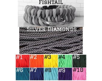 CUSTOM FISHTAIL PARACORD Silver Diamonds + Solid Color  – Pet Collar