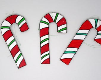Wooden Candy Cane Ornament/Window Decoration