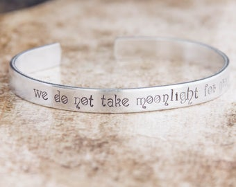 We Do Not Take Moonlight For Granted / Literary Gift / Literary Jewelry / Watership Down Gift / Watership Down Jewelry / Quote Jewelry