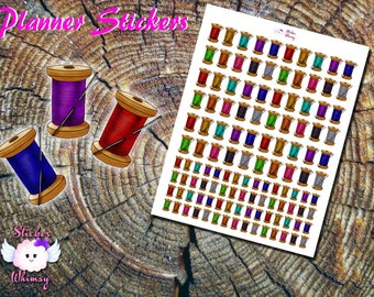 Needle and Thread Planner Stickers, Printed Stickers, Knitting, Cute Stickers, Sewing Stickers, Erin Condren, Functional, Reminder, Colorful
