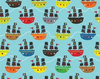 Blue Treasure Boats by Treasure Map from Riley Blake 112cm (w) x 25cm