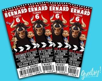 Ferdinand Invitation, Ferdinand Birthday, Ferdinand Party, Ferdinand Invites, Ferdinand Movie, Ferdinand Movie Ticket, Ferdinand The Bull