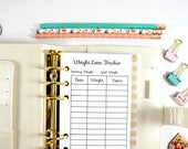 Digital Personal Size Weight Loss Tracker, Filofax Personal Digital Inserts, Filofax Personal Inserts, Printable personal fitness insert