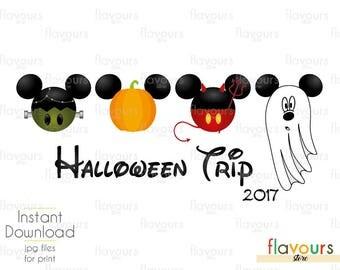2017 Disney Halloween Trip - INSTANT DOWNLOAD - Family Vacation Iron On Transfer - DIY Disney Shirts