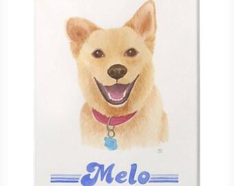 Custom Pet Portrait Original Watercolor Painting Matted - One Pet