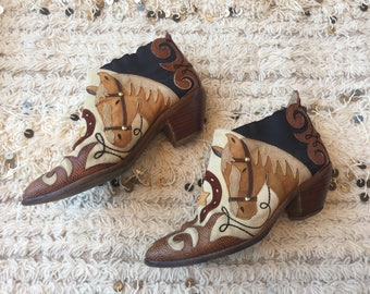 Vintage ZALO HORSE Cowboy Western ankle Boots Booties FESTIVAL Boho Style  us 8