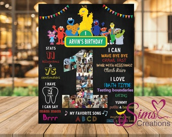 Sesame Street Birthday Chalkboard Poster, Sesame Street First Birthday Milestone Chalkboard, Sesame Street Printable Chalkboard Poster