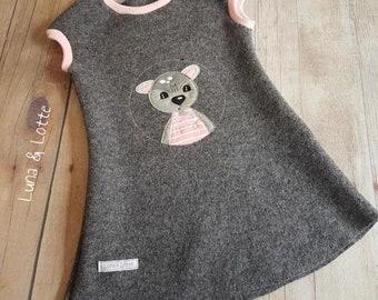 Deer Lotti Tunic Waldorf Walk Grey pink Gr. 86-152 Waldorf dress, Montessori, grey dress, walk, autumn dress, wool dress, wool, wool dress