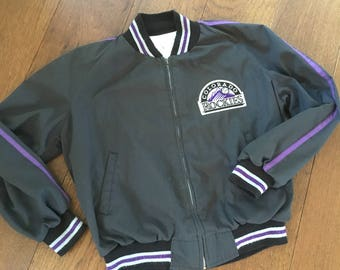 80's Colorado Rockies Coach Trainer Bomber Jacket Hand Embroidered Size Large