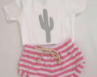 Cactus and pink shorts set