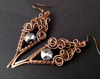 Intricate copper wire-wrapped earrings, gray earrings, romantic earrings with gray swarovski crystals