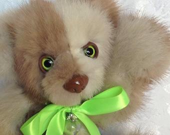Mini Patchwork real OOAK mink artist teddy bear