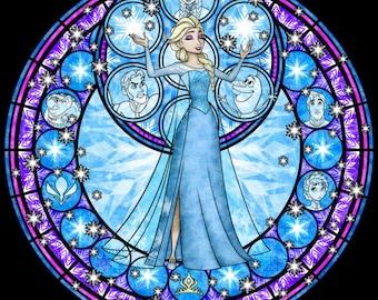 Frozen Elsa cross stitch digital Pattern medallion stained glass kingdom hearts