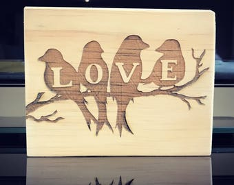 Love birds Wooden Plaque