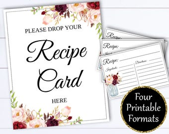 Recipe Card Drop Sign - Bridal Shower Recipe Card Sign - Recipe Card Drop Sign - Recipe Shower - Drop Recipe Card - Recipe Card Here