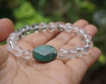 Clear Quartz & Green Agate