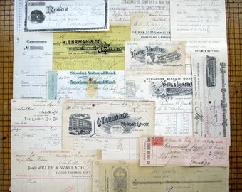 1867-1913 Paper Ephemera, Checks, Receipts, Bill heads, Industry, Lithograph, Business, Antique Paper, Letterheads, receipts, Old, Vintage