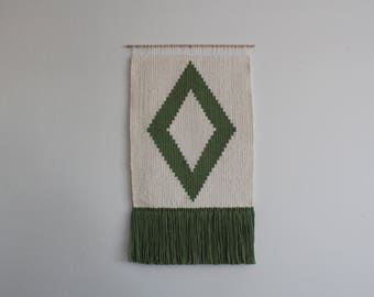 Green Diamond Woven Wall Hanging