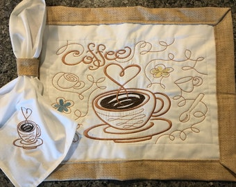 Embroidery Coffee Placemat set / 4 Placemats-4 napkins-4 napkins rings/ Coffee lovers/free shipping/ Handmade/table linen/