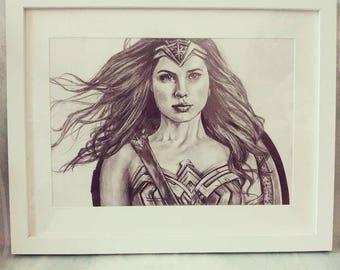 Wonder woman Gal Gadot pencil drawing original or print