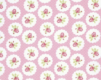 END OF BOLT - 3 Yards - Tanya Whelan - Lulu Roses - Lotti - Pink - Free Spirit - Shabby Chic Fabric - 100 % cotton , Quilting