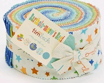 Bartholo-meow's Reef Jelly Roll by Tim and Beck for Moda Fabrics -Bartholo-meow's Reef Jelly Roll -Tim and Beck Jelly Roll - Kids Jelly Roll