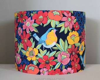 Floral bird lampshade 30cm / 35cm fabric light / lamp shade handmade by vivid shades, robin flower drum ceiling tropical vintage tall shade