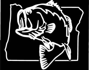 Oregon Largemouth Bass Fishing state outline window sticker decal