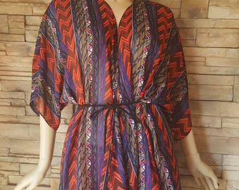 Abstract print robe for men/funky robe/multi color robe size large /men robe women robe