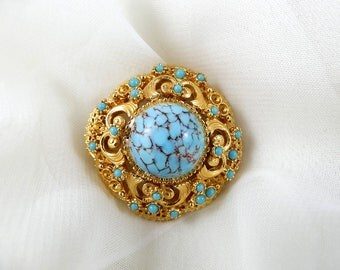 Vintage pin, vintage brooch, signed brooch, costume jewellery, turquoise brooch, blue and gold brooch, ornate brooch, vintage jewellery.