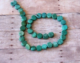 Flat Turquoise Coin Beads - STONE 042