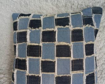 Jeans deferents fabric pillow cover
