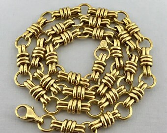 Stunning Custom Made Solid 14k Yellow Gold Link Chain Necklace! 18 Inches!