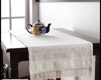 Embroidered 100% Cotton Table Runner with Cotton Crochet Lace Endings