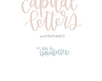 Capital Letters Brush Lettering Worksheets - Printable Lettering Practice Sheets