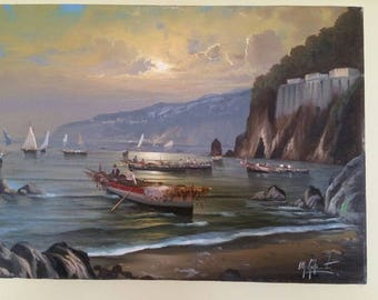 "M. Gulanti, ""Pescatori in Sicilia"", Made in Italy. Original Oil on Canvas 1998."