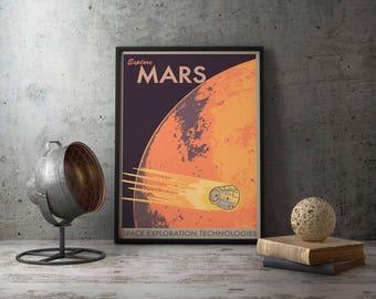 Mars Poster - Mars - Space Poster - Mars Print - Planet Poster - Space Travel Poster - Mars Travel Poster - Explore Mars - Mars Art Print