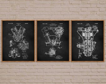 Engine Patent Set of 3, car lover gift, mechanic gift, car lover, henry ford patent, ford engine art, engineer gifts, car guy gift